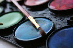 water colors with paintbrush